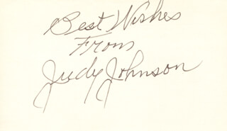 JUDY JOHNSON - AUTOGRAPH SENTIMENT SIGNED