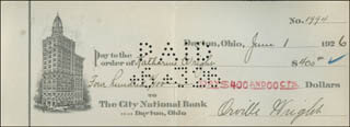 Autographs: ORVILLE WRIGHT - CHECK SIGNED 06/01/1926 CO-SIGNED BY: KATHARINE WRIGHT