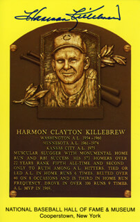 HARMON KILLEBREW - BASEBALL HALL OF FAME PLAQUE POSTCARD SIGNED
