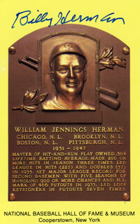 BILLY HERMAN - BASEBALL HALL OF FAME PLAQUE POSTCARD SIGNED