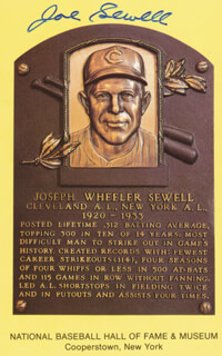 JOE SEWELL - BASEBALL HALL OF FAME PLAQUE POSTCARD SIGNED
