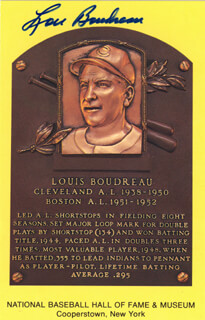 LOU BOUDREAU - BASEBALL HALL OF FAME PLAQUE POSTCARD SIGNED