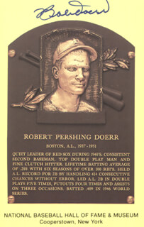 BOBBY DOERR - BASEBALL HALL OF FAME PLAQUE POSTCARD SIGNED