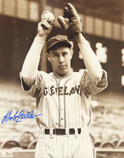 BOB FELLER - AUTOGRAPHED SIGNED PHOTOGRAPH