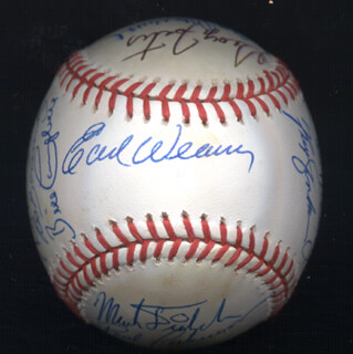 BOBBY BONDS - AUTOGRAPHED SIGNED BASEBALL CO-SIGNED BY: DON MONEY, MARK THE BIRD FIDRYCH, JOE RUDI, GEORGE FOSTER, CECIL COOPER, PAUL CASANOVA, BO ROBERT BELINSKY, MIKE G. MARSHALL, SPARKY LYLE, RON CEY, PAUL BLAIR, TUG (FRANK) MCGRAW, GRAIG NETTLES, STEVE GARVEY, EARL WEAVER, BILL CAMPBELL, FERGUSON JENKINS