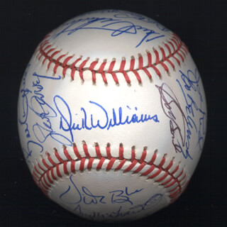 KENT TEKE TEKULVE - AUTOGRAPHED SIGNED BASEBALL CO-SIGNED BY: MARK THE BIRD FIDRYCH, JOE RUDI, DICK WILLIAMS, BOBBY BONDS, VIDA BLUE, MANNY SANGUILLEN, BILL MADLOCK JR., BERT CAMPANERIS, BO ROBERT BELINSKY, ROLLIE FINGERS, DAVE KINGMAN, TUG (FRANK) MCGRAW, STEVE GARVEY, BILL CAMPBELL, FERGUSON JENKINS