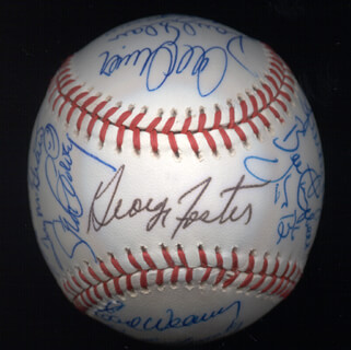 KENT TEKE TEKULVE - AUTOGRAPHED SIGNED BASEBALL CO-SIGNED BY: DON MONEY, MARK THE BIRD FIDRYCH, JOE RUDI, GEORGE FOSTER, VIDA BLUE, AL MR. SCOOP OLIVER, MANNY SANGUILLEN, CECIL COOPER, BILL MADLOCK JR., BERT CAMPANERIS, BO ROBERT BELINSKY, MIKE G. MARSHALL, ROLLIE FINGERS, SPARKY LYLE, DAVE KINGMAN, PAUL BLAIR, TUG (FRANK) MCGRAW, GRAIG NETTLES, STEVE GARVEY, EARL WEAVER, BILL CAMPBELL, DOUG DECINCES, FERGUSON JENKINS