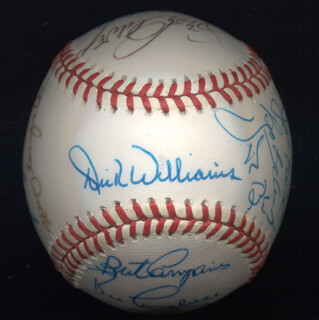 ROLLIE FINGERS - AUTOGRAPHED SIGNED BASEBALL CO-SIGNED BY: JOE RUDI, DICK WILLIAMS, MANNY SANGUILLEN, BILL MADLOCK JR., BERT CAMPANERIS, BO ROBERT BELINSKY, RON CEY, DAVE KINGMAN, STEVE GARVEY, BILL CAMPBELL, FERGUSON JENKINS