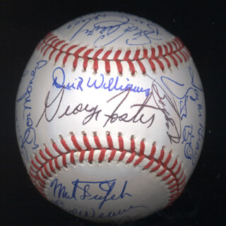 Autographs: KENT TEKE TEKULVE - BASEBALL SIGNED CO-SIGNED BY: DON MONEY, MARK THE BIRD FIDRYCH, JOE RUDI, DICK WILLIAMS, BOBBY BONDS, GEORGE FOSTER, VIDA BLUE, AL MR. SCOOP OLIVER, MANNY SANGUILLEN, CECIL COOPER, BILL MADLOCK JR., BERT CAMPANERIS, BO ROBERT BELINSKY, MIKE G. MARSHALL, ROLLIE FINGERS, SPARKY LYLE, DAVE KINGMAN, PAUL BLAIR, TUG (FRANK) MCGRAW, GRAIG NETTLES, STEVE GARVEY, EARL WEAVER, BILL CAMPBELL, FERGUSON JENKINS