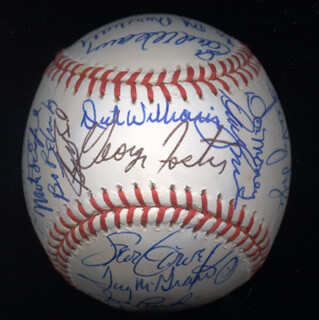KENT TEKE TEKULVE - AUTOGRAPHED SIGNED BASEBALL CO-SIGNED BY: DON MONEY, MARK THE BIRD FIDRYCH, JOE RUDI, DICK WILLIAMS, BOBBY BONDS, GEORGE FOSTER, VIDA BLUE, AL MR. SCOOP OLIVER, MANNY SANGUILLEN, CECIL COOPER, BILL MADLOCK JR., BERT CAMPANERIS, BO ROBERT BELINSKY, MIKE G. MARSHALL, ROLLIE FINGERS, SPARKY LYLE, DAVE KINGMAN, PAUL BLAIR, TUG (FRANK) MCGRAW, GRAIG NETTLES, EARL WEAVER, BILL CAMPBELL, DOUG DECINCES, FERGUSON JENKINS