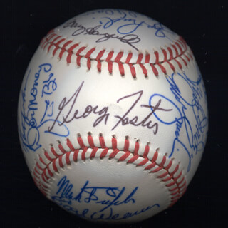 KENT TEKE TEKULVE - AUTOGRAPHED SIGNED BASEBALL CO-SIGNED BY: DON MONEY, MARK THE BIRD FIDRYCH, DICK WILLIAMS, GEORGE FOSTER, VIDA BLUE, AL MR. SCOOP OLIVER, MANNY SANGUILLEN, CECIL COOPER, BILL MADLOCK JR., BERT CAMPANERIS, BO ROBERT BELINSKY, ROLLIE FINGERS, SPARKY LYLE, DAVE KINGMAN, TUG (FRANK) MCGRAW, GRAIG NETTLES, STEVE GARVEY, EARL WEAVER, BILL CAMPBELL, DOUG DECINCES, FERGUSON JENKINS
