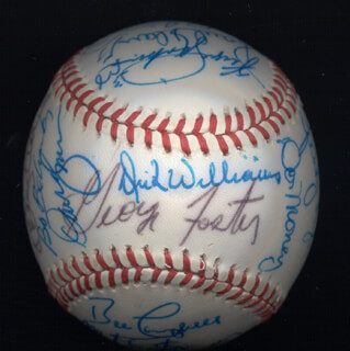 Autographs: KENT TEKE TEKULVE - BASEBALL SIGNED CO-SIGNED BY: MARK THE BIRD FIDRYCH, JOE RUDI, DICK WILLIAMS, BOBBY BONDS, GEORGE FOSTER, AL MR. SCOOP OLIVER, MANNY SANGUILLEN, CECIL COOPER, BILL MADLOCK JR., BERT CAMPANERIS, BO ROBERT BELINSKY, MIKE G. MARSHALL, ROLLIE FINGERS, SPARKY LYLE, DAVE KINGMAN, PAUL BLAIR, GRAIG NETTLES, STEVE GARVEY, BILL CAMPBELL, DOUG DECINCES, FERGUSON JENKINS