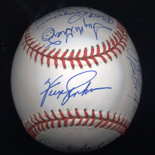 KENT TEKE TEKULVE - AUTOGRAPHED SIGNED BASEBALL CO-SIGNED BY: JOE RUDI, DICK WILLIAMS, VIDA BLUE, CECIL COOPER, BILL MADLOCK JR., BERT CAMPANERIS, BO ROBERT BELINSKY, ROLLIE FINGERS, DAVE KINGMAN, TUG (FRANK) MCGRAW, STEVE GARVEY, BILL CAMPBELL, FERGUSON JENKINS