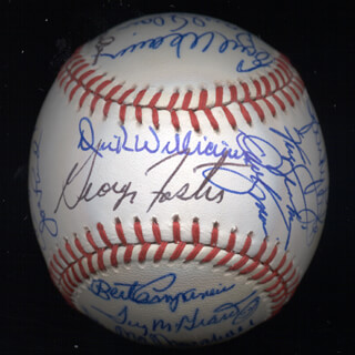 Autographs: KENT TEKE TEKULVE - BASEBALL SIGNED CO-SIGNED BY: DON MONEY, MARK THE BIRD FIDRYCH, DICK WILLIAMS, GEORGE FOSTER, VIDA BLUE, AL MR. SCOOP OLIVER, MANNY SANGUILLEN, CECIL COOPER, BILL MADLOCK JR., BERT CAMPANERIS, MIKE G. MARSHALL, SPARKY LYLE, DAVE KINGMAN, PAUL BLAIR, TUG (FRANK) MCGRAW, GRAIG NETTLES, STEVE GARVEY, EARL WEAVER, BILL CAMPBELL, DOUG DECINCES