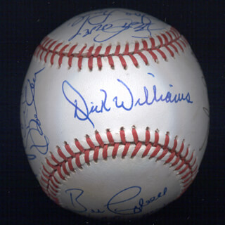 Autographs: BOBBY BONDS - BASEBALL SIGNED CO-SIGNED BY: JOE RUDI, DICK WILLIAMS, KENT TEKE TEKULVE, VIDA BLUE, MANNY SANGUILLEN, CECIL COOPER, BILL MADLOCK JR., BERT CAMPANERIS, ROLLIE FINGERS, RON CEY, DAVE KINGMAN, STEVE GARVEY, BILL CAMPBELL, FERGUSON JENKINS