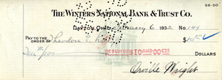 ORVILLE WRIGHT - AUTOGRAPHED SIGNED CHECK 02/06/1932 CO-SIGNED BY: DR. THEODORE E. LILLY