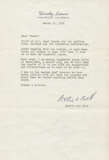 DOROTHY LAMOUR - TYPED LETTER SIGNED 03/30/1957