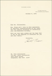 PRESIDENT RICHARD M. NIXON - TYPED LETTER SIGNED 10/08/1976