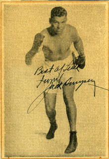 JACK DEMPSEY - ADVERTISEMENT SIGNED
