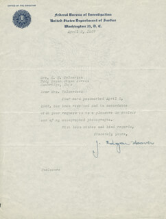 J. EDGAR HOOVER - TYPED LETTER SIGNED 04/08/1947  - HFSID 123