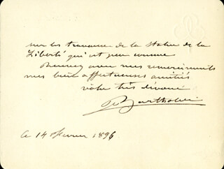 FREDERIC A. BARTHOLDI - AUTOGRAPH LETTER SIGNED 02/14/1896