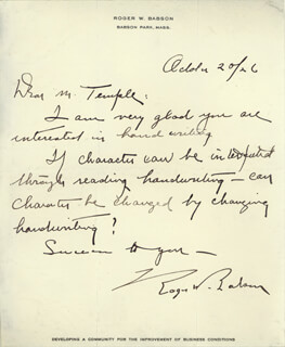 ROGER BABSON - AUTOGRAPH LETTER SIGNED 10/20/1926