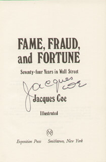 JACQUES COE - BOOK SIGNED