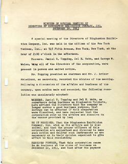 DANIEL R. TOPPING - CORPORATE MINUTES SIGNED 12/10/1953 CO-SIGNED BY: GEORGE M. WEISS, J. ARTHUR FRIEDLUND, DEL E. WEBB