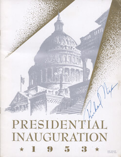 PRESIDENT RICHARD M. NIXON - INAUGURAL PROGRAM SIGNED CIRCA 1953