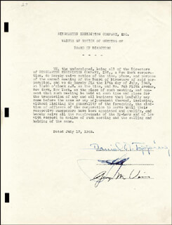 DANIEL R. TOPPING - DOCUMENT SIGNED 07/17/1948 CO-SIGNED BY: GEORGE M. WEISS, DEL E. WEBB