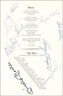 MICKEY MANTLE - MENU SIGNED CIRCA 1967 CO-SIGNED BY: YOGI BERRA, BOB ADDIE, WHITEY FORD, CASEY THE OLD PROFESSOR STENGEL, JIM BUNNING, JOE CRONIN, GEORGE SISLER JR.