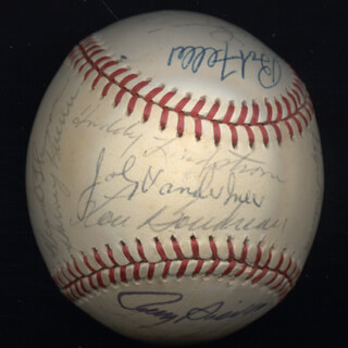JOE DIMAGGIO - AUTOGRAPHED SIGNED BASEBALL CIRCA 1970 CO-SIGNED BY: HARVEY KUENN, TOMMY HOLMES, JOHN BERADINO, VIRGIL TRUCKS, FRANK THOMAS, DICK GERNERT, BOB FELLER, FRED LINDSTROM, JOHNNY MIZE, LOU BOUDREAU, PETE RUNNELS, RALPH HAWK BRANCA, DON LARSEN, JOE CRONIN, ROY SIEVERS, JOHNNY DOUBLE NO-HIT VANDER MEER