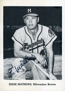 EDDIE MATHEWS - PRINTED PHOTOGRAPH SIGNED IN INK  - HFSID 124915