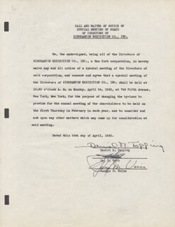 DANIEL R. TOPPING - DOCUMENT SIGNED 02/06/1950 CO-SIGNED BY: GEORGE M. WEISS, DEL E. WEBB