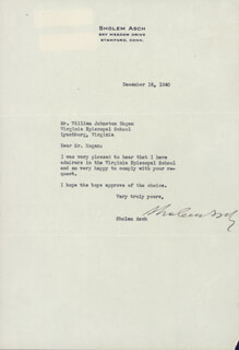 SHOLEM ASCH - TYPED LETTER SIGNED 12/18/1940