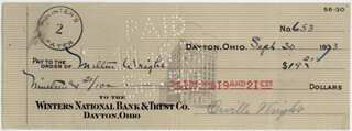 ORVILLE WRIGHT - AUTOGRAPHED SIGNED CHECK 09/30/1933 CO-SIGNED BY: MILTON WRIGHT - HFSID 12767