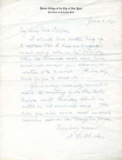 G. M. WHICHER - AUTOGRAPH LETTER SIGNED 06/07/1921