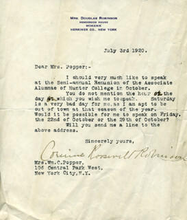 Autographs: CORINNE ROOSEVELT ROBINSON - TYPED LETTER SIGNED