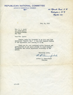 Autographs: ARTHUR E. SUMMERFIELD - TYPED LETTER SIGNED 07/30/1952