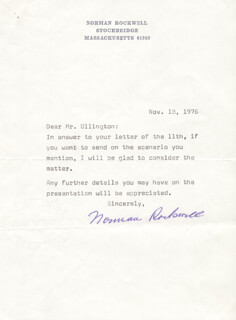 NORMAN ROCKWELL - TYPED LETTER SIGNED 11/18/1976