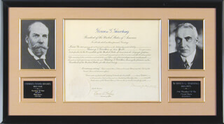 PRESIDENT WARREN G. HARDING - DIPLOMATIC APPOINTMENT SIGNED 10/20/1921 CO-SIGNED BY: CHIEF JUSTICE CHARLES E HUGHES