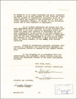 Autographs: PRESIDENT RONALD REAGAN - CONTRACT SIGNED 02/12/1952