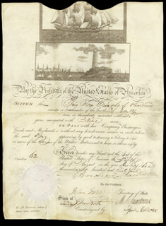 PRESIDENT ANDREW JACKSON - SHIPS PAPERS 08/05/1835 CO-SIGNED BY: JOHN FORSYTH