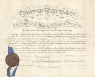 Autographs: PRESIDENT GROVER CLEVELAND - CIVIL APPOINTMENT SIGNED 05/08/1896 CO-SIGNED BY: WILLIAM L. WILSON