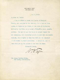PRESIDENT WILLIAM H. TAFT - TYPED LETTER SIGNED 05/06/1913
