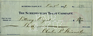 CHARLES P. STEINMETZ - AUTOGRAPHED SIGNED CHECK 12/01/1907