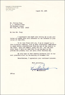 MAJOR EDWARD V. EDDIE RICKENBACKER - TYPED LETTER SIGNED 08/28/1964