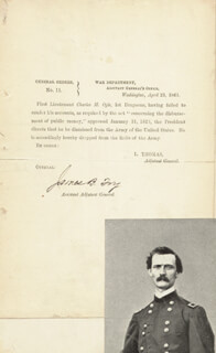 Autographs: MAJOR GENERAL JAMES BARNET FRY - DOCUMENT SIGNED 04/23/1861