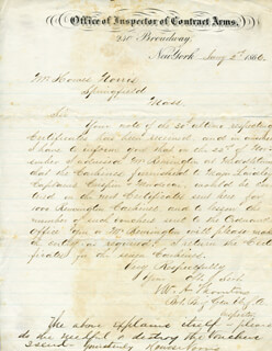 GENERAL WILLIAM A. THORNTON - MANUSCRIPT LETTER SIGNED 01/02/1866 CO-SIGNED BY: HOWES NORRIS