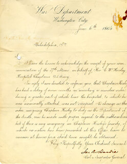 MAJOR GENERAL JAMES A. HARDIE - MANUSCRIPT LETTER SIGNED 06/06/1864
